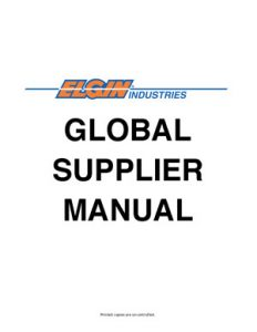 Elgin Global Supplier Manual cover