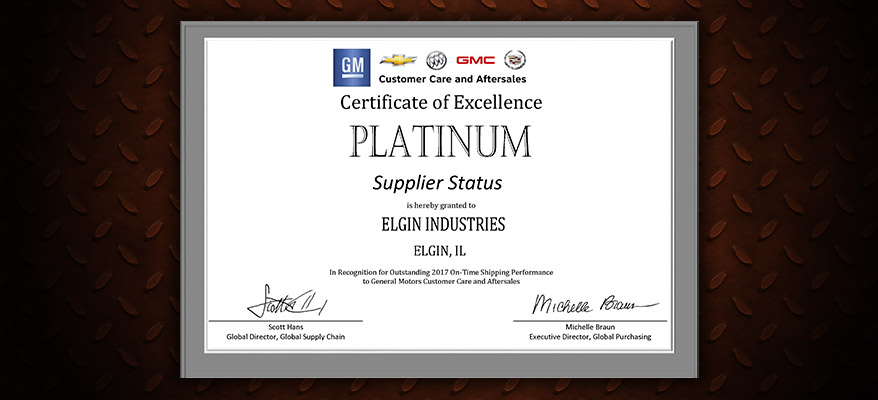 Elgin Industries Again Named 'Platinum Supplier' by General Motors