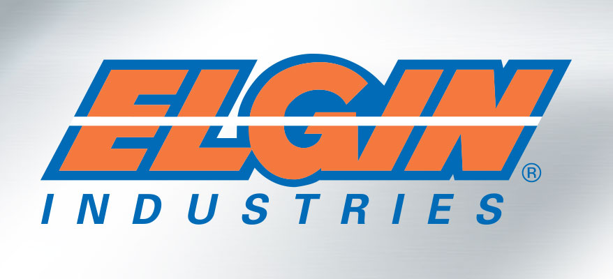 Elgin Industries logo on platinum background.