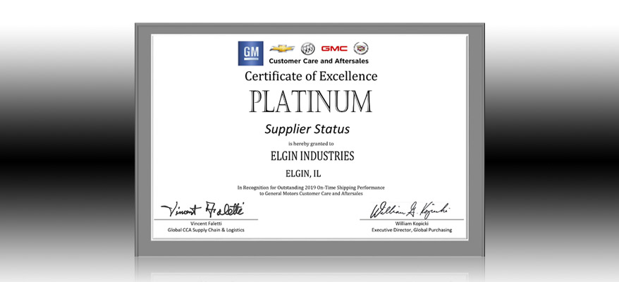 Elgin Platinum Supplier Status GM Certificate of Excellence