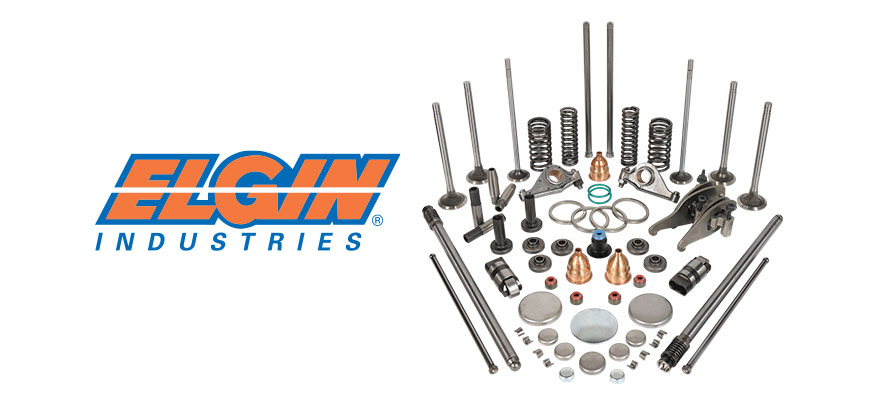 Elgin Industries logo next to a grouping of Elgin heavy duty engine parts.